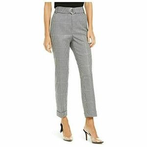 INC Houndstooth Belted Trousers Tapered Pants 14
